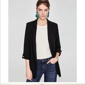 Zara black blazer jacket half sleeve XS